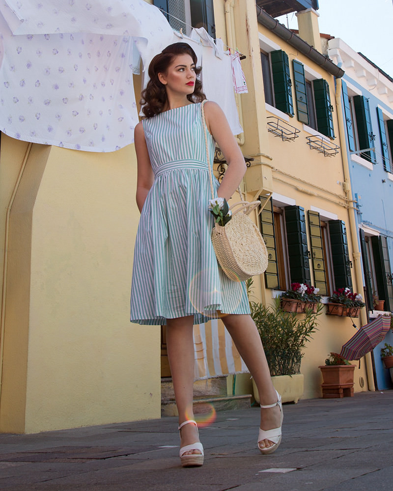 'Audrey' Classic 1950s Swing Dress in Mint Green Striped Cotton