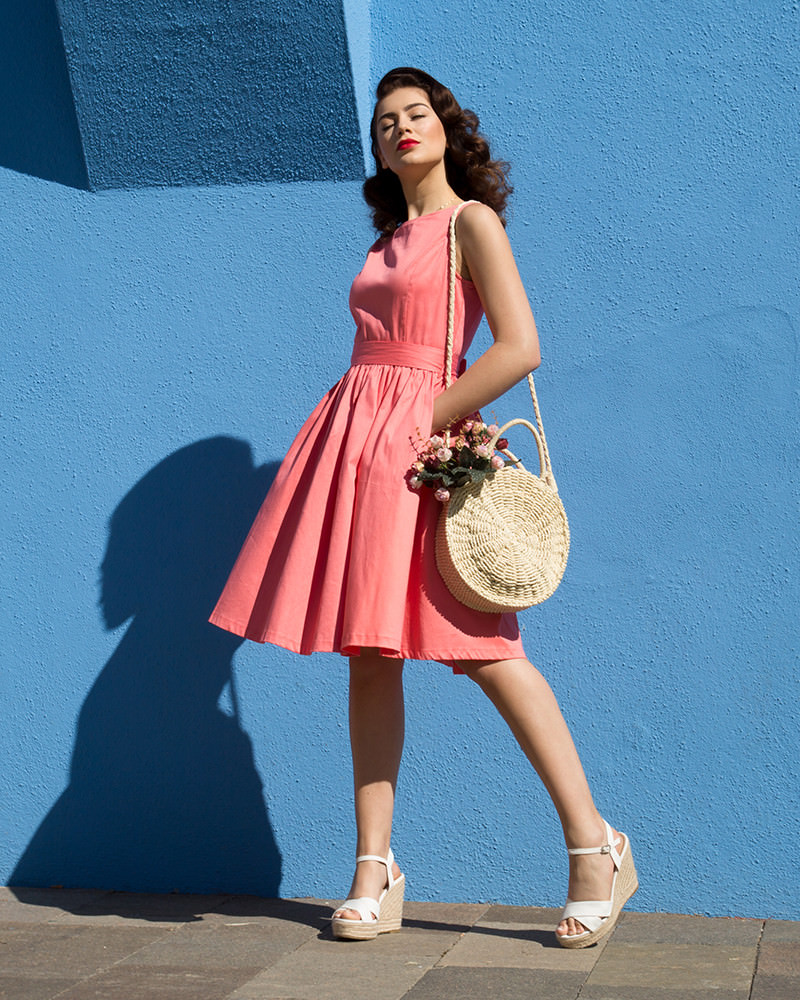 'Audrey' Classic 1950s Sleeveless Swing Dress in Coral Pink Cotton