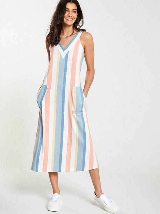 Anamy Sleeveless Stripe Midi Dress
