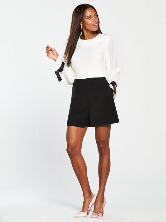 Contrast Pleated Playsuit