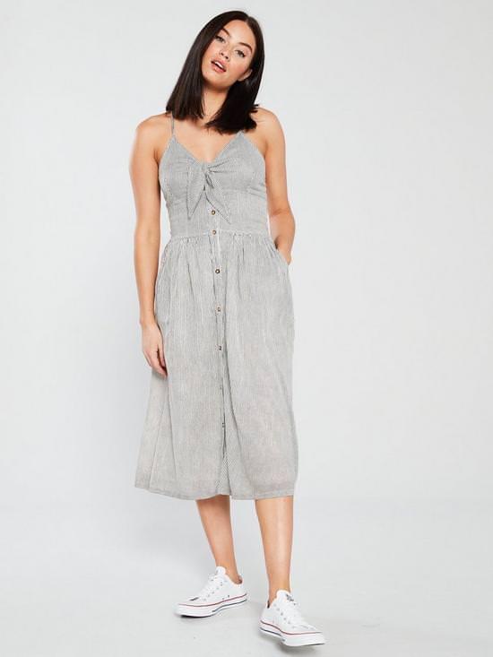 Jayde Tie Front Midi Dress