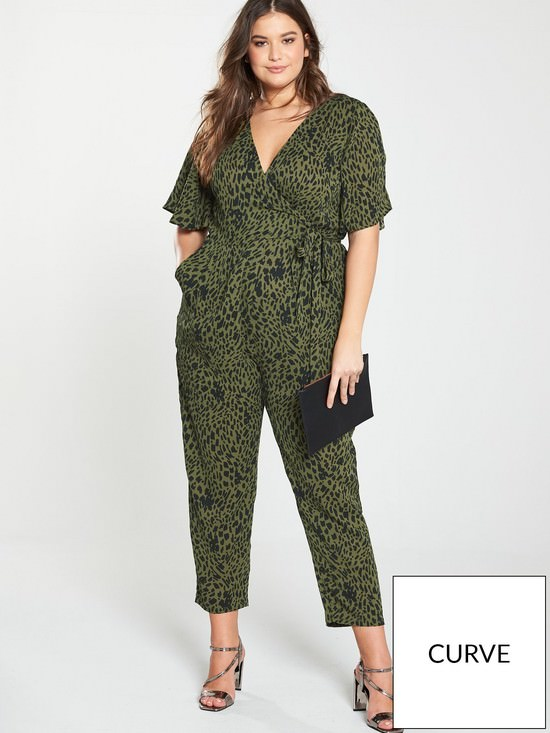 Dalimation Print Wrap Front Tapered Leg Jumpsuit