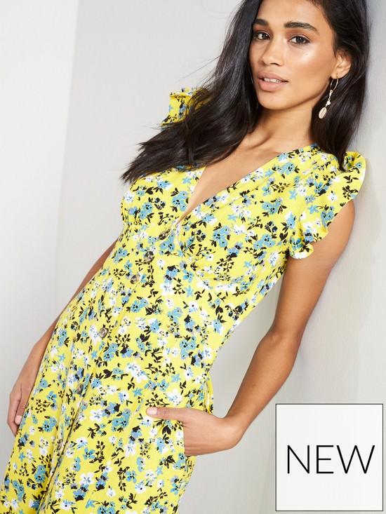 Linen Printed Button Through Maxi Dress