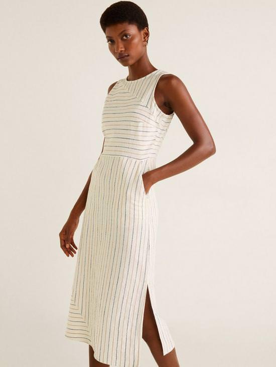 Cotton Stripe Midi Dress