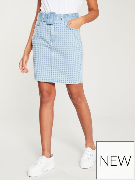 Laser Gingham Belted Denim Skirt