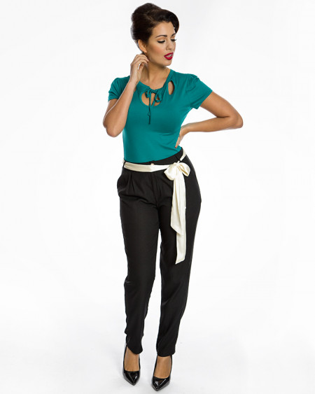 'Fiora' Black Trousers with Cream Sash Belt