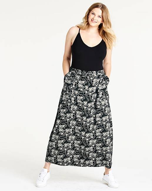 Floral Print Easy Care Linen Mix Maxi Skirt
