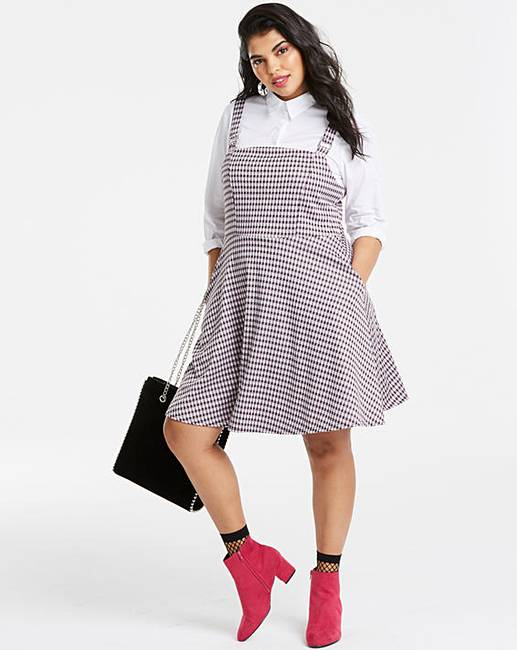 Pink Check Pinafore Skater Dress