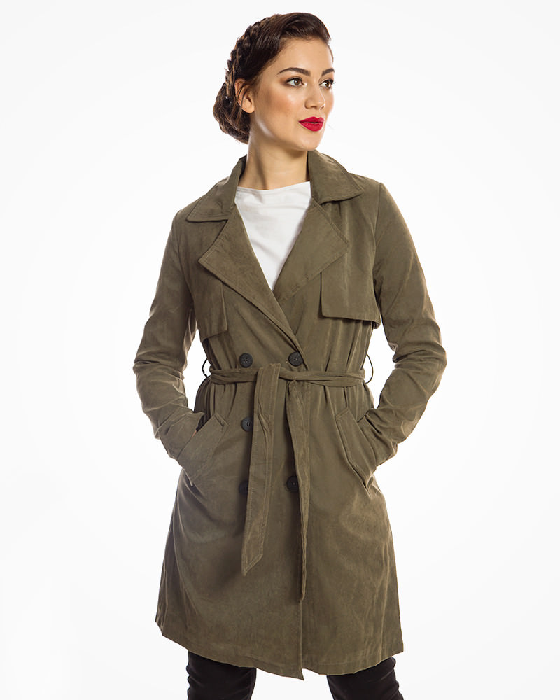 Khaki Belted Classic Trench Coat